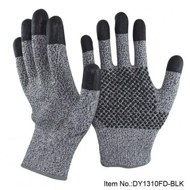 Nitrile Dotted Palm Cut Resistant Protective Glove - DY1310FD-BLK
