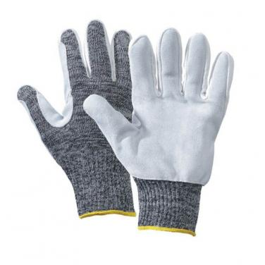 10 Gauge Aramid Fibers+Nylon & Stainless Steel Fiber Leather Palm Glove -DY013CS-001