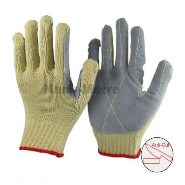7 Gauge Aramid Fibers Knitted Liner With Cow Split Leather Glove - KV007CS