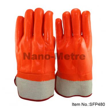 Full Coated Orange Fluorescent  PVC Glove,Safety Cuff - SFP 480