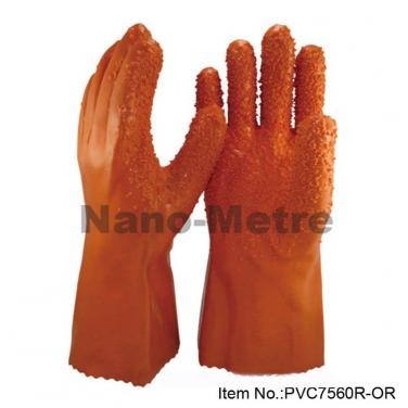Cotton Interlock Liner With Orange PVC Full Coated Gauntlet -PVC7560R-OR