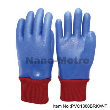 PVC Glove Wwith Terry Cloth Knitted Liner For Winter Use - PVC1380BRKW-T