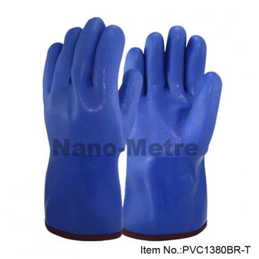 Terry Cloth Liner With Blue PVC Full Coated Gauntlet - PVC1380BR-T