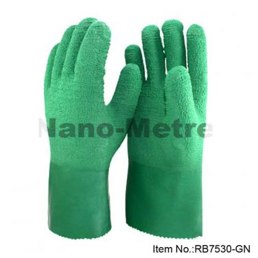 Cotton Jersey Liner Full Coated Green Crinkle Latex Palm Glove- RB7530-GN