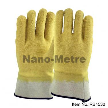 Jersey Liner Full Coated Rubber Gloves,Safety Cuff, Wrinkle Finish - RB4530