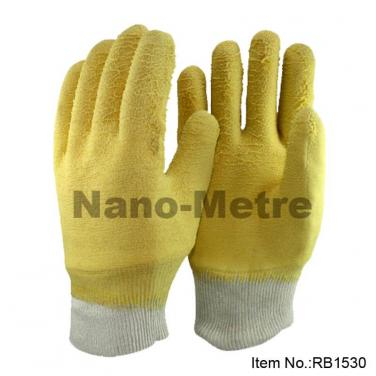 Yellow Latex Crinkle Full Dipped Rubber Work Glove -RB1530