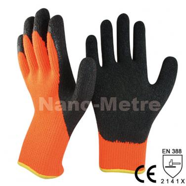Orange Thermal Working Latex Gloves For Winter Use - NM007-OR/BLK