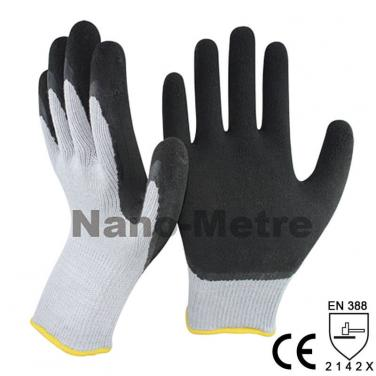 Black Foam Latex Dipped Polycotton Palm Industry Work Glove -NM10902F-GR/BLK