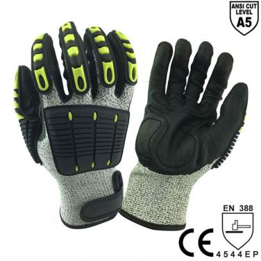 ANSI CUT 5 High Quality Impact Resistant Mechanic Work Glove- DY1350AC-GR/BLK