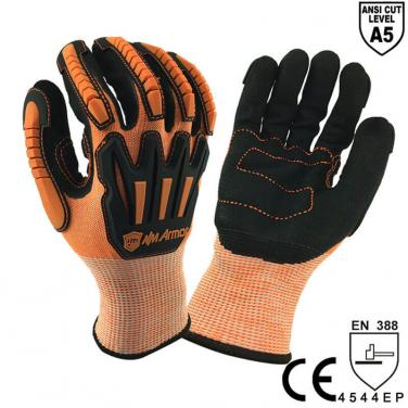 ANSI CUT 5 Anti-Shock Absorbing Mechanics Safety Work Glove - DY1350AC-OR/BLK