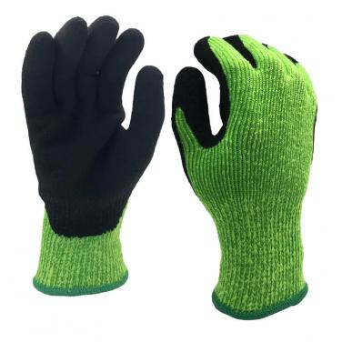 7 Gauge Winter&Cut Fiber Knitted Coated Black Foam Latex on Palm Glove - DY007NMF