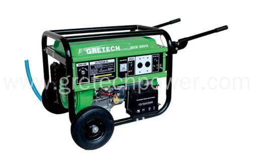 Gretech 6 kW LPG/NG/Gasoline Generator, Model:JLC7000G/E/S  Pushing handles and wheels; Electric-Start