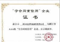 """佳力科技顺利通过浙江省AAA级""""守合同重信用""""企业续评"""