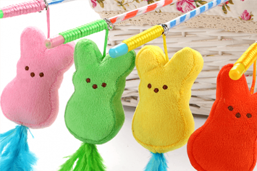 Colourful Cat Teaser Toy With Retractable Plastic Stick