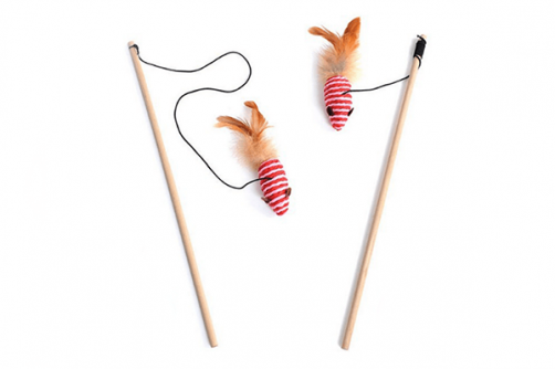 Funny Interactive Sisal Cat Play Product Cat Teaser Feather Stick Toy