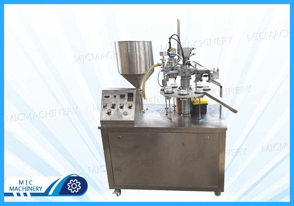 MIC-R30-I semi-auto plastic tube filling sealing machine with Swiss heating gun export to US client