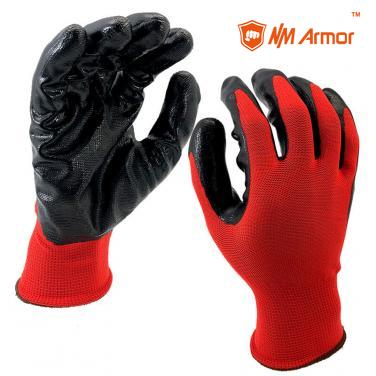 EN388:3121X Smooth Nitrile Dipped polyester Palm Work Gloves-NY1350P-R/BLK