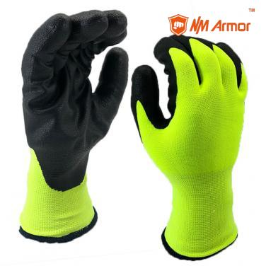 Winter Warm Double Liner Nitirle Foam Coating Working Max Flex Gloves-NY1350DFRB-HY/BLK