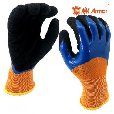 EN388:4121X Hand Job Double Coated Colored Nitrile Gloves-NY1355DC-B/BLK