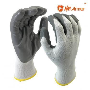 EN388:3121X Smooth Nitrile Dipped Nylon Palm Work Glove-NY1350P-LG