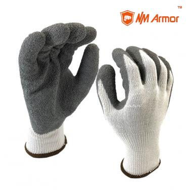 EN388:2016:2142X Latex Gloves 10G polyester Shell Coated Crinkle Finish Work Safety Gloves Protection Gloves-NM10902-W/GR