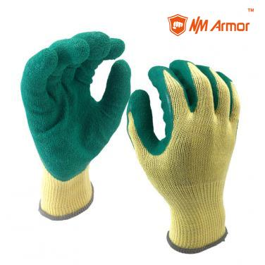 EN388:2142X Green Latex Dipping Orange Polycotton Construction Gloves-NM10902-Y/GN