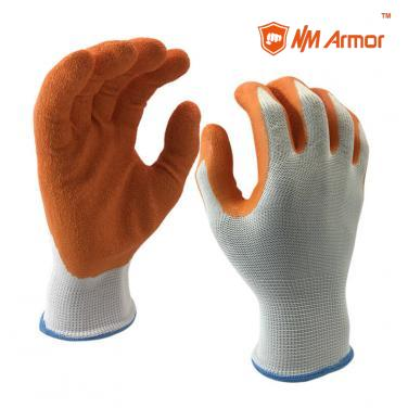 EN388:2121X 13 Gauge White polyester Liner Coated Latex Crinkle Finished On Palm Gloves-NM1350P-W/OR