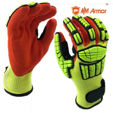 EN388:4544EP Anti cut Impact Gloves Full-Finger Hand Back TPR Oil Resistant Cut Gloves - DY1350AC-HY/OR