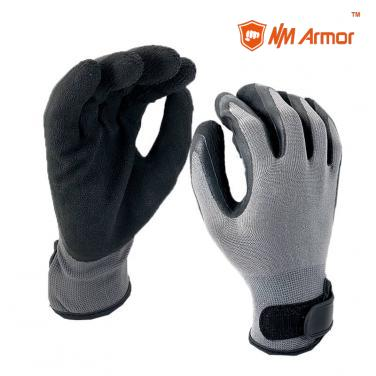 EN388:2131X Grey nylon coated black foam latex safety working gloves-NM1350F-M