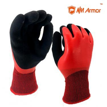 Cut Resistant 13 gauge HPPE zand Glass Fiber Knitted Glove with red Full latex dipping- DM1359DC-H