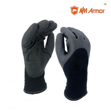 Black PVC Foam Glove Coated Waterproof Winter Gloves-PVC1355DS-BLK