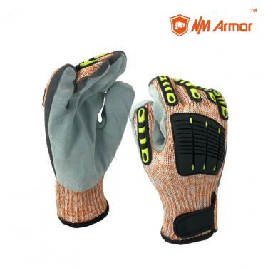 ANSI Cut 9 leather gloves with 7 gauge cut resistant knitting gloves cowhide leather on palm stitch with TPR-DY007CS-AC