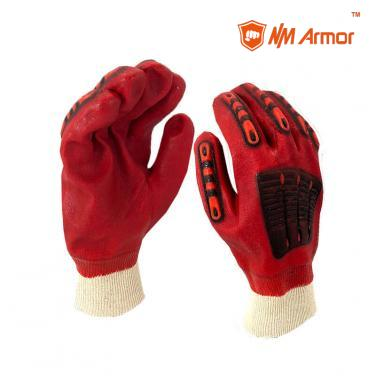Red PVC dipped gloves work impact resistant TPR gloves-PVC1560-R-AC