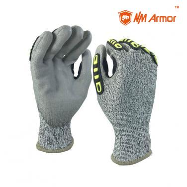EN388:2016: 4X43C CUT 3 cut resistant TPR protection ansi standard grey PU coated gloves-DY110-PU-H-AC