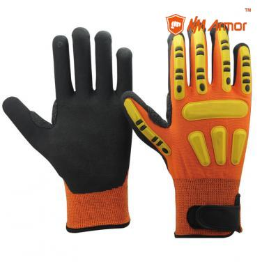 EN388:4544EP Orange safety hand gloves impact work gloves-DY1350AC-OR/BLK