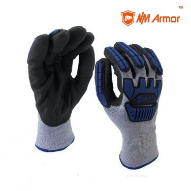 EN388:4544EP Cut level 5 resistant gloves TPR production mechanic impact gloves antivibration-DY1350DF-AC