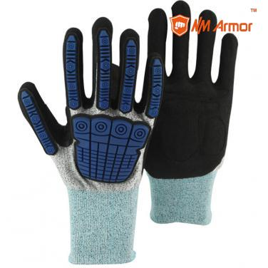 Super strong liner blue anti slip anti cut impact gloves-DY1350-GR/BLK