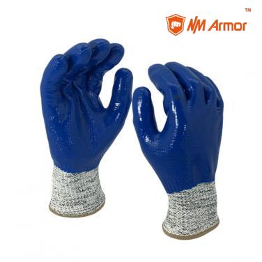 EN388:4X43C Nitrile gloves blue cut resistant full coated water-proof gloves-DY1359-BL