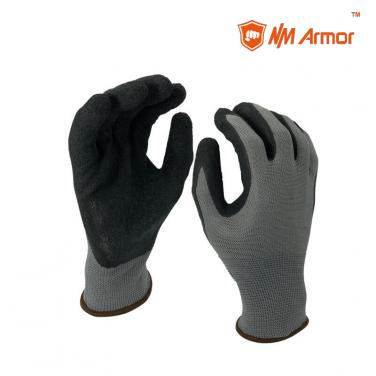 EN388:3131X Nylon work gloves crinkle industrial black latex gloves-NM1350-GR/BLK
