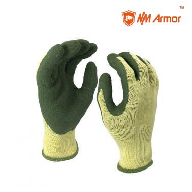 EN388:2142X Latex Dipping Polycotton Construction Gloves -NM10902-Y/GN