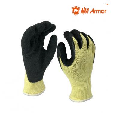 EN388:2142X Latex Dipping Polycotton Construction Gloves -NM10902-Y/BLK