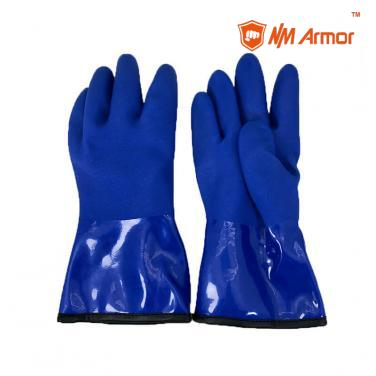 Blue waterproof pvc safety gloves winter safety glove- PVC1380BR-T