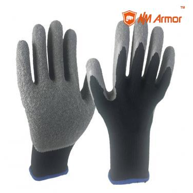 EN388:2142X cotton glove for construction assembly work wrinkle latex gloves-NM10902-BLK/GR