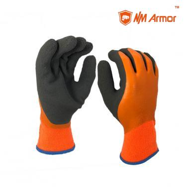 Double color glove acrylic latex coated waterproof winter gloves-NM1359DCF-OR/BLK