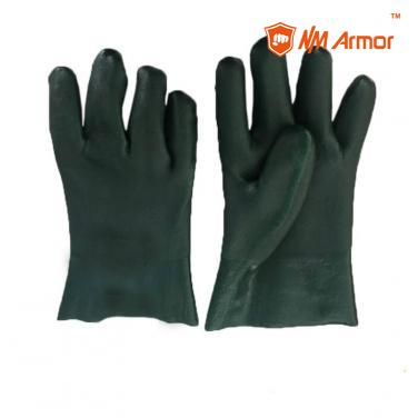 PVC double dipped glove pvc sandy chemical protective gloves- DPVC7560-GN