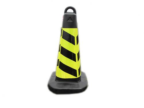 Black Color 65cm Square Plastic Traffic Ice Cream Road Cone