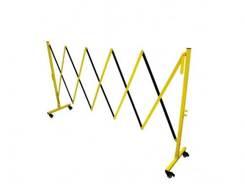 Wheel Moving&Portable&Retractable&Expandable Yellow Stainless Steel Traffic Safety Barrier Fence