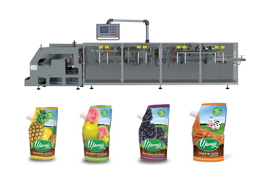 fruit juice doypack with cornner spout packing machine