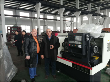 Egypt customers come to our factory checking cnc lathe machine