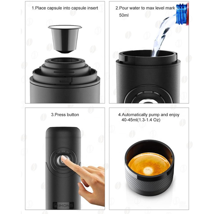 CP009 IMONS Fully Automatic Portable Espresso Machine CAN HEAT WATER Italian Coffee Maker For Nespresso Capsule, 12V Rechargeable, Cordless Use, Self Clean For Indoor and Outdoor Car Camping Hiking